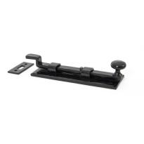 Wardlo deurschuif gebogen met knop 158x52mm smeedijzer zwart
