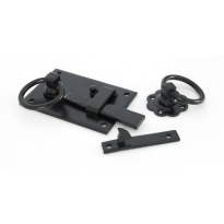 Wardlo klinkstel links, 152mm, ring 69mm smeedijzer zwart
