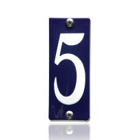 Emaille huisnummer 5 blauw, 40 x 100 mm