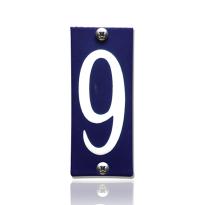 Emaille huisnummer 9 blauw, 40 x 100 mm