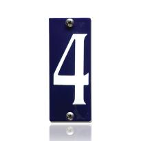 Huisnummer 4 emaille blauw, 40 x 100 mm