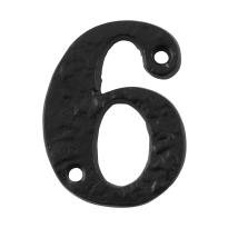 Huisnummer 6 landelijk, smeedijzer zwart