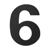 Huisnummer 6 zwart, 150 mm