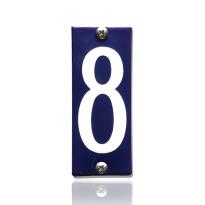 Huisnummer 8 emaille blauw, 40 x 100 mm