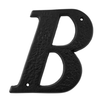 Landelijke huisnummer toevoeging letter 'B', smeedijzer zwart