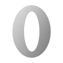 RVS huisnummer 0 plat, 150 mm