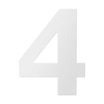 RVS huisnummer 4, wit