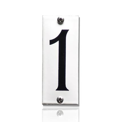 Emaille huisnummer 1 wit, 40 x 100 mm