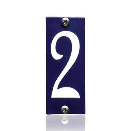 Emaille huisnummer 2 blauw, 40 x 100 mm