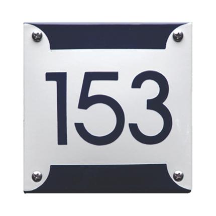 Emaille huisnummer 'Retro' wit, 125 x 125 mm