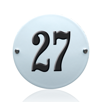 Emaille huisnummer wit, 130 mm