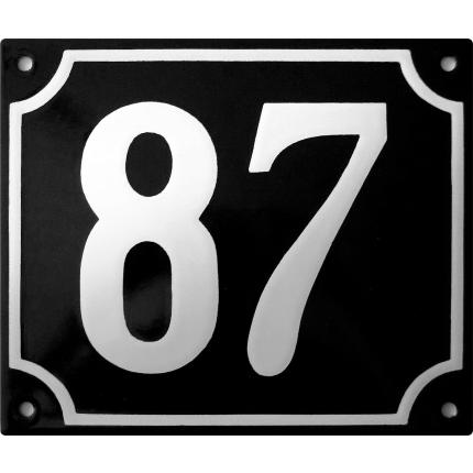 Emaille zwart huisnummerbord met witte cijfers, 150x180 mm