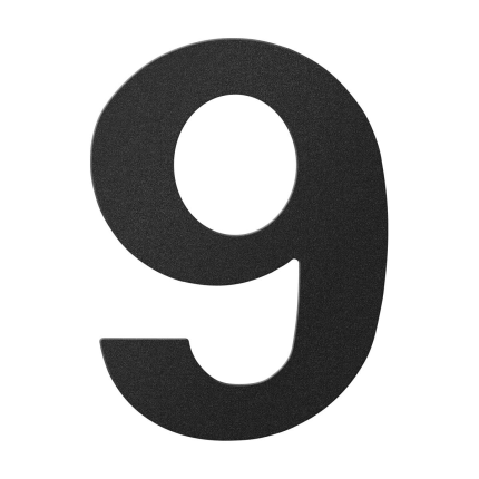 Huisnummer 9 zwart, 150 mm