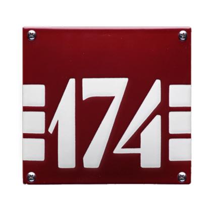 Huisnummer emaille 'ArtDeco' rood, 150 x 140 mm