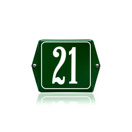 Huisnummer emaille groen, 60 x 60 mm