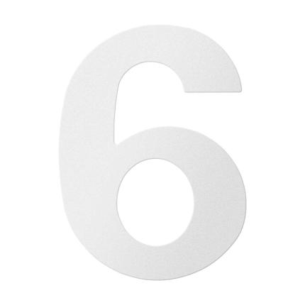 RVS huisnummer 6, wit
