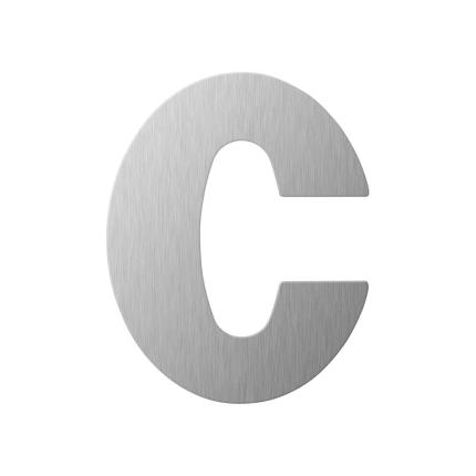 RVS huisnummer letter 'C' plat, 110 mm