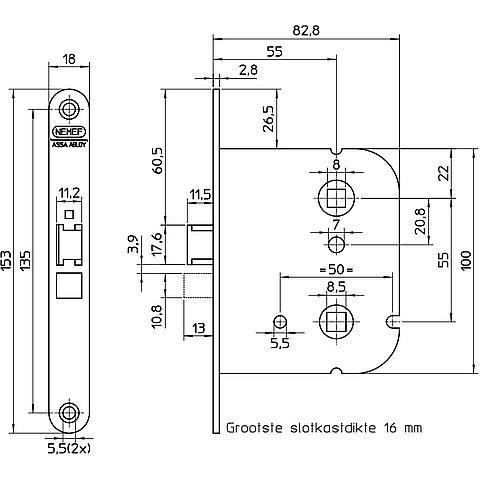 Nemef 1444 badkamer/wc-slot staal gelakt - deurbeslagstore.be