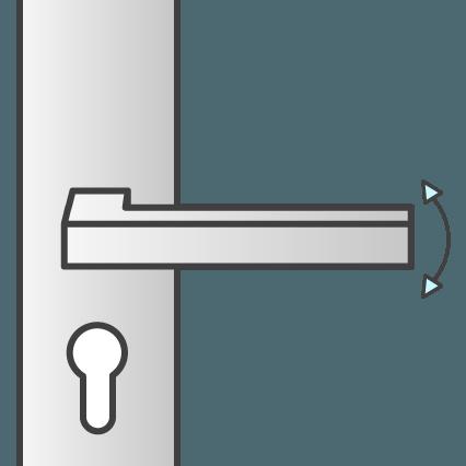 Krukbediend: het meerpuntsslot reageert wanneer je de deurkruk draait.